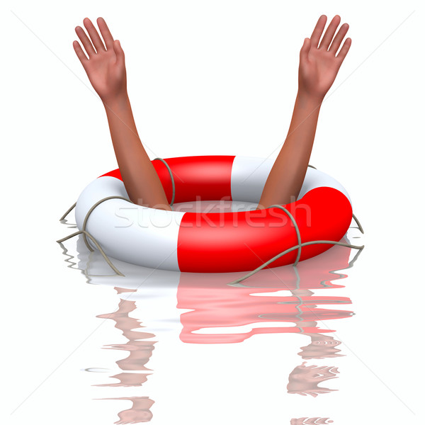 Rescue buoy and drowning hands Stock photo © dengess