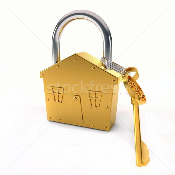 Bronze lock and key Stock photo © dengess