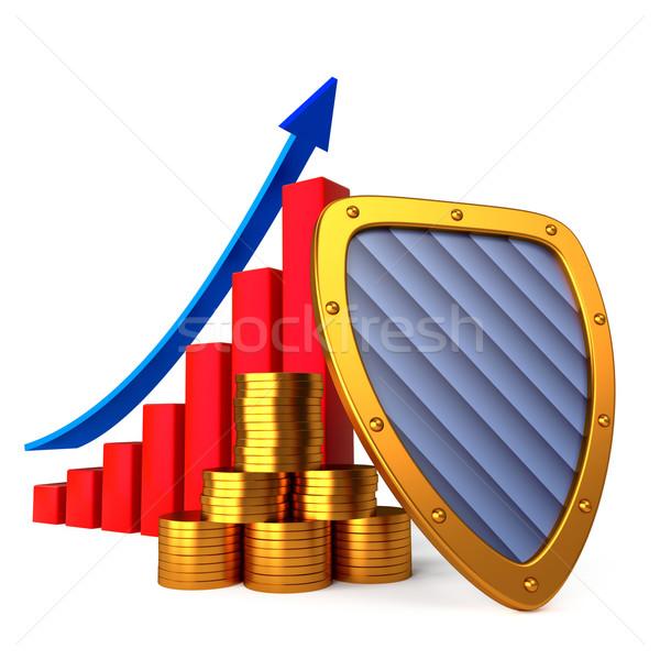 Monedas tabla escudo negocios estabilidad dinero Foto stock © dengess