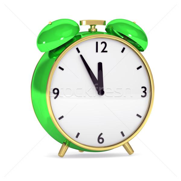 Verde despertador isolado branco metal vermelho Foto stock © dengess