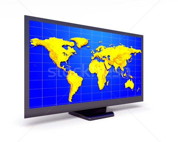 Display abstract lcd mappa del mondo business Foto d'archivio © dengess