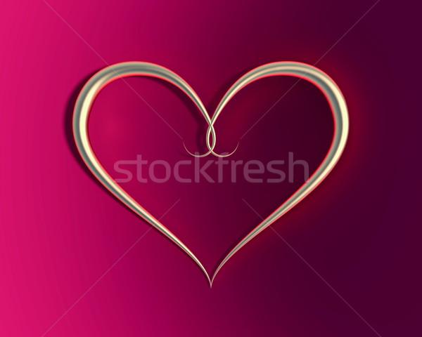 Goud ring hartvorm fluwelen abstract hart Stockfoto © dengess