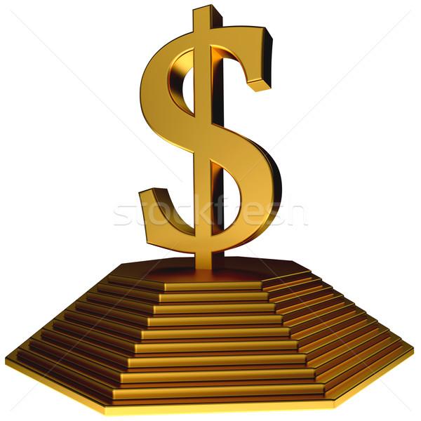 Gouden piramide goud dollar symbool witte Stockfoto © dengess