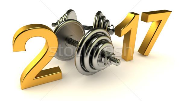 Año blanco fitness metal gimnasio evento Foto stock © dengess