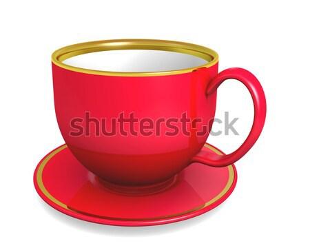 Beker Rood kleur witte 3d illustration koffie Stockfoto © dengess