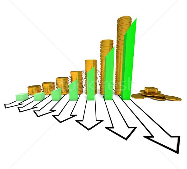 Grafiek munten groene geïsoleerd witte kleur Stockfoto © dengess