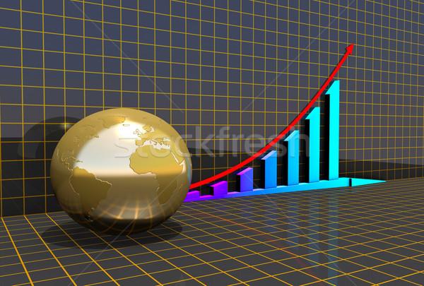 Business grafiek wereldbol grid abstract wereld Stockfoto © dengess