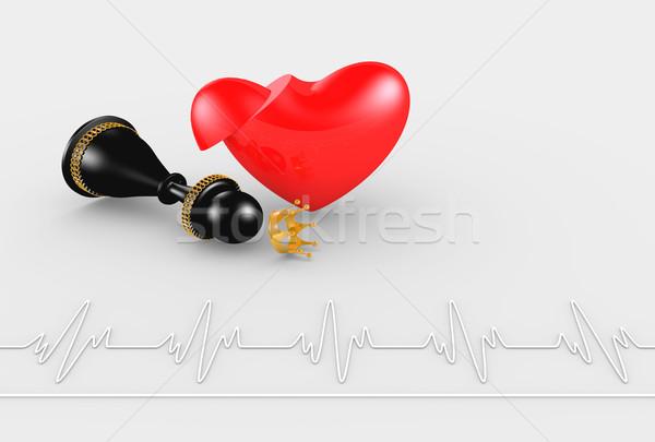 Kalp krizi satranç kraliçe bilgisayar tıbbi sağlık Stok fotoğraf © dengess