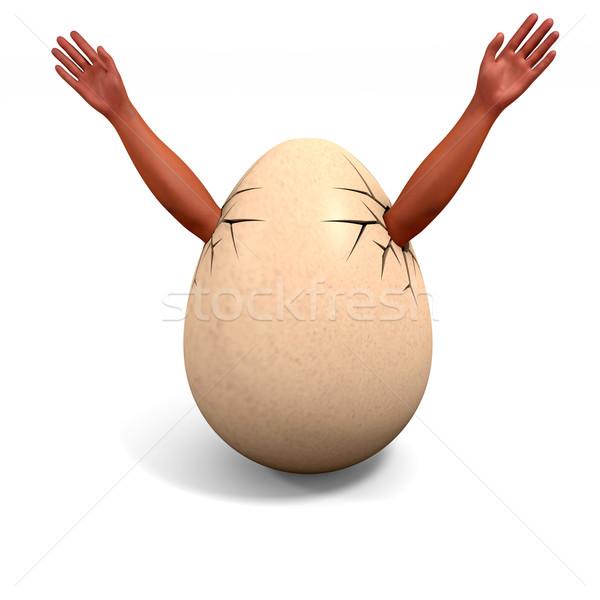 broken egg - hands stick out up Stock photo © dengess