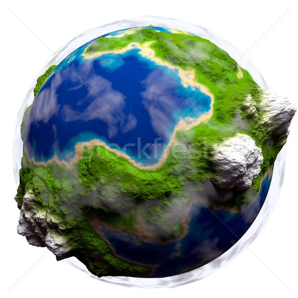 Cartoon tierra nubes planeta tierra blanco mundo Foto stock © dengess