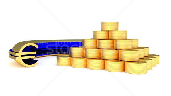 Munten euro gouden piramide munt symbool Stockfoto © dengess