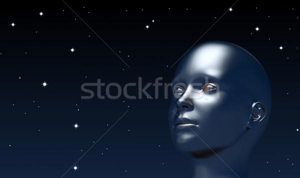 Вселенной мальчика голову аннотация иллюстрация Сток-фото © dengess