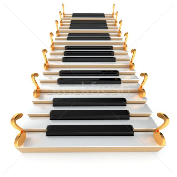 Piano escalera notas blanco construcción resumen Foto stock © dengess