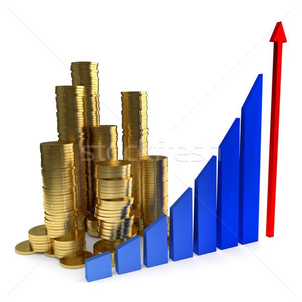 бизнеса диаграммы Золотые монеты белый металл Финансы Сток-фото © dengess