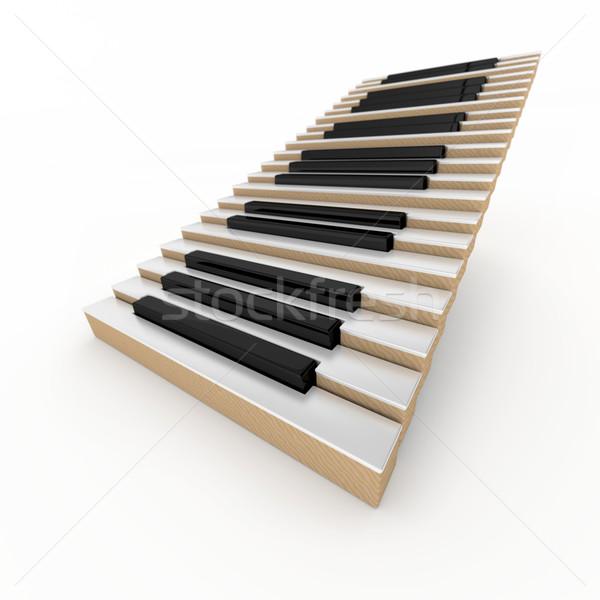 Сток-фото: фортепиано · лестниц · лестница · белый · аннотация · фон