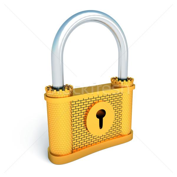 Bronze lock - fortress Stock photo © dengess