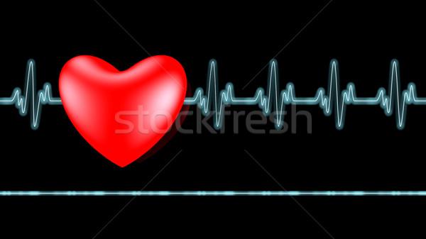 Bicie serca czarny komputera medycznych zdrowia Zdjęcia stock © dengess