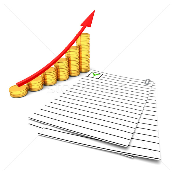 Coins chart and documents Stock photo © dengess