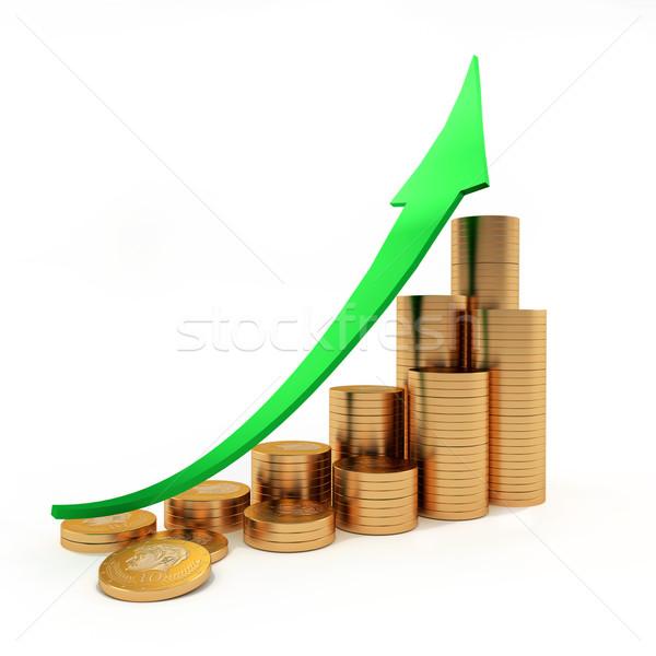 Pijl munten grafiek business succes bar Stockfoto © dengess