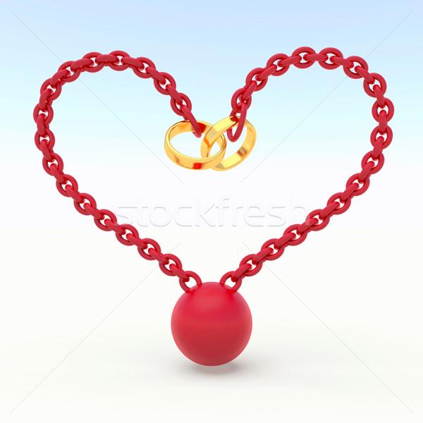Liefde abstract trouwringen keten vorm hart Stockfoto © dengess