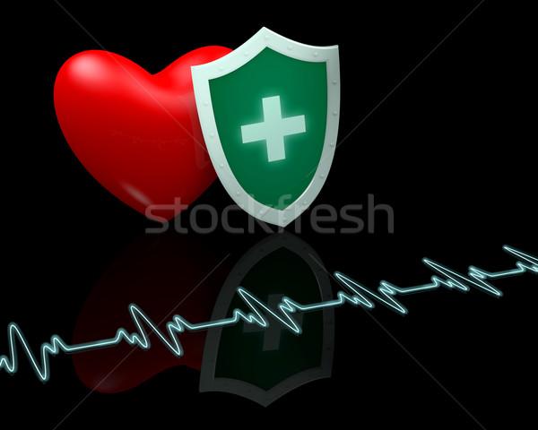 Batimento cardíaco escudo preto médico coração Foto stock © dengess
