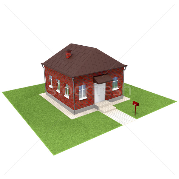 Brick house on the grassfield Stock photo © dengess