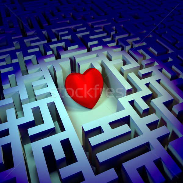 Heart in dark labyrinth Stock photo © dengess