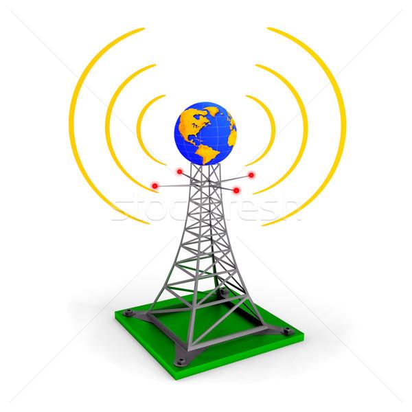 抽象的な ワイヤレス 塔 実例 地球 世界中 ストックフォト © dengess