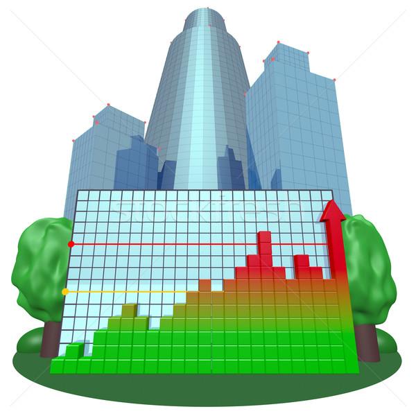 Colorido tabla ciudad negocios casa árbol Foto stock © dengess
