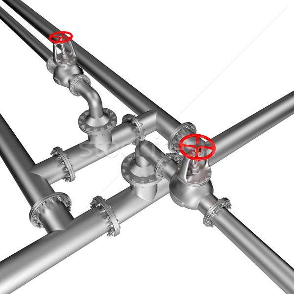 трубы линия изолированный белый строительство фон Сток-фото © dengess