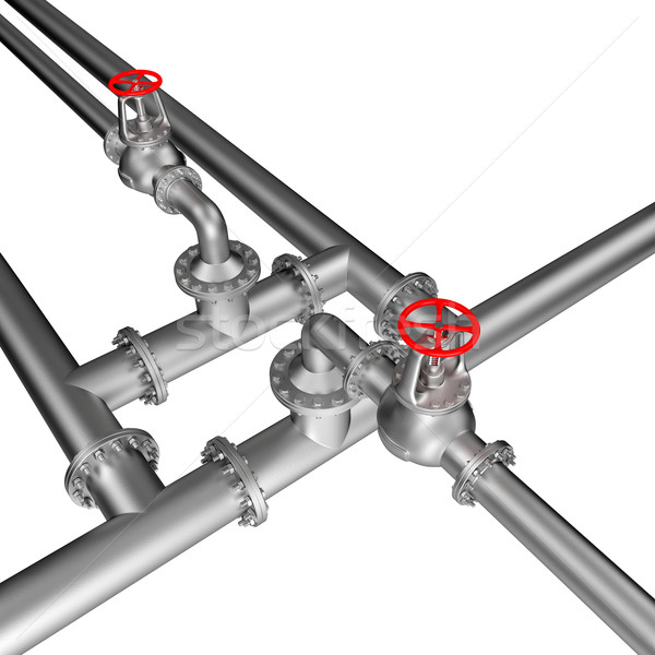 Pipe ligne isolé blanche construction fond Photo stock © dengess