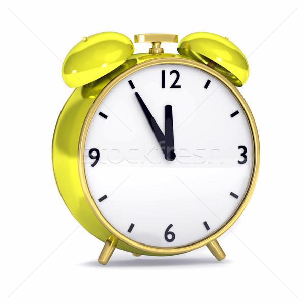 Amarillo despertador aislado blanco metal rojo Foto stock © dengess