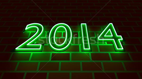 Nieuwe jaren 2014 neon licht nummers Stockfoto © dengess