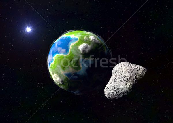 Attack of the asteroid on the Earth Stock photo © dengess