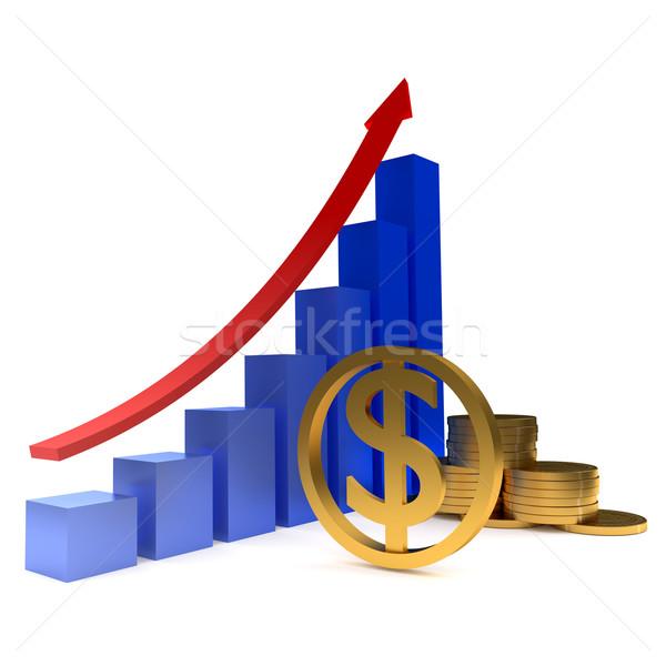 Diagrama dorado dólares monedas aislado blanco Foto stock © dengess