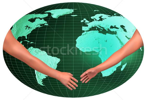 Handshake over world Stock photo © dengess
