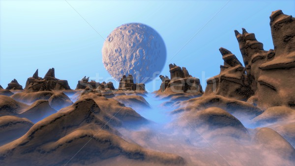 Lune paysage illustration cartoon drôle scifi Photo stock © dengess