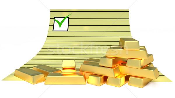 Goldbars and document Stock photo © dengess