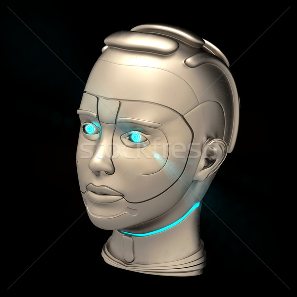 Cyborg kafa fütüristik siyah bilgisayar adam Stok fotoğraf © dengess