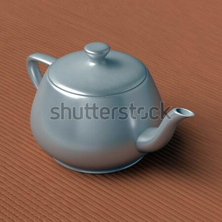 teapot on a bamboo mat Stock photo © dengess