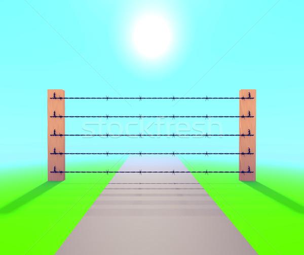Drót kerítés kék ég illusztráció égbolt börtön Stock fotó © dengess