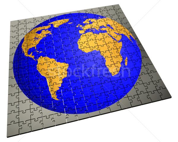 Stock fotó: Globális · stratégia · kirakós · játék · megoldás · üzlet · földgömb