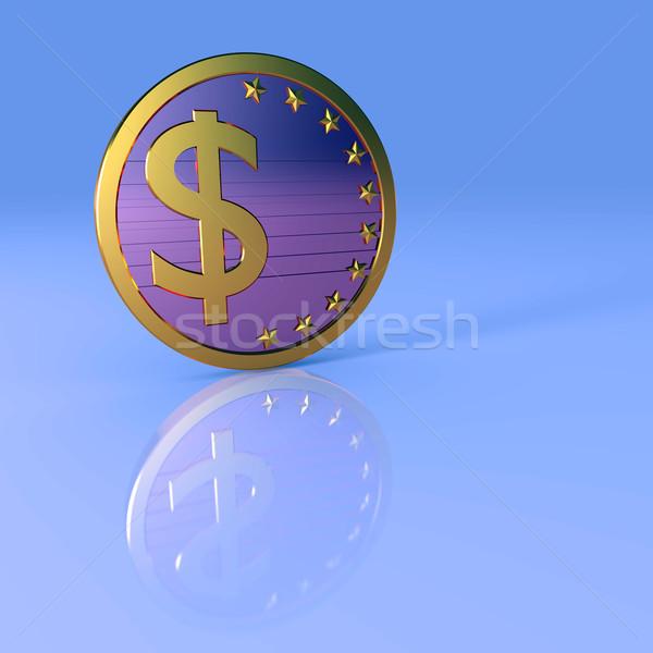 Signo de dólar resumen negocios ilustración azul fondo Foto stock © dengess
