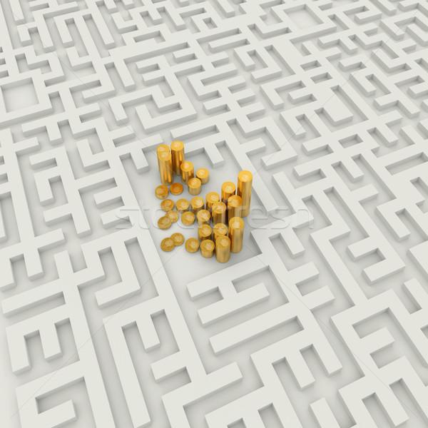 Gouden munten abstract labyrint munten succes business Stockfoto © dengess