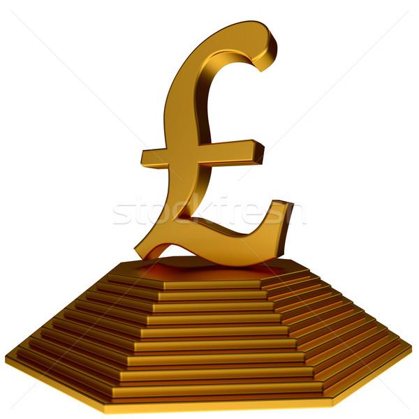 Gouden piramide goud pond teken symbool Stockfoto © dengess