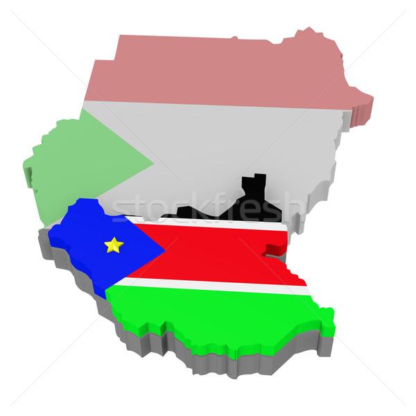 Zuidelijk Soedan vlag kaart vrijheid wereld Stockfoto © dengess