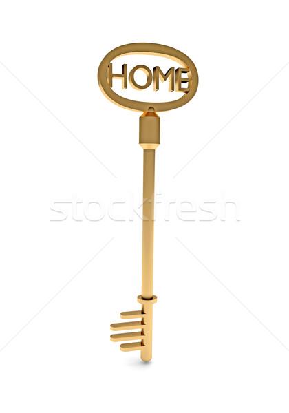 Goud sleutel home tekst symbool eigendom Stockfoto © dengess