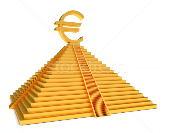 Goud piramide euro gouden symbool witte Stockfoto © dengess