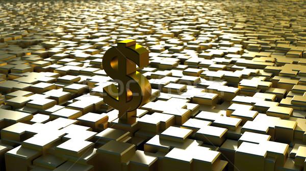 Oro dólar cubos negocios dinero edificio Foto stock © dengess