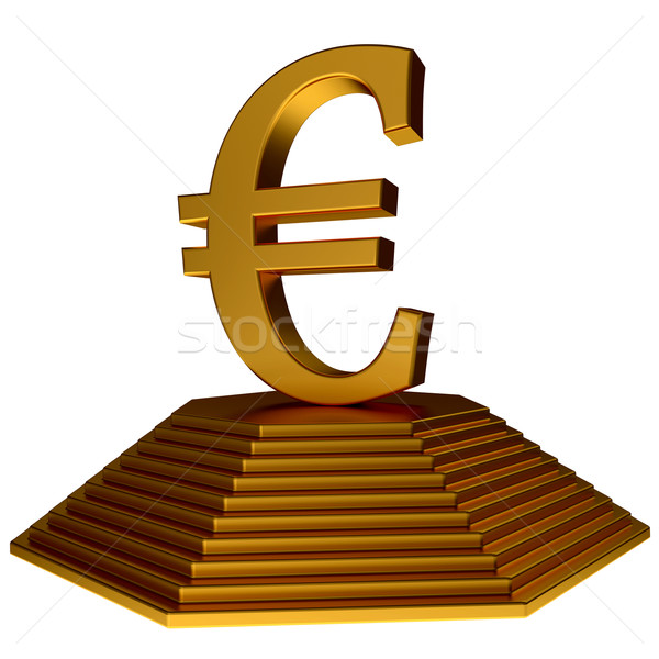 golden pyramid and euro symbol Stock photo © dengess